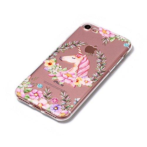 iPhone 7 Coque Unicorn rouge Premium Gel TPU Souple Silicone Transparent Clair Bumper Protection Housse Arrière Étui Pour Apple iPhone 7 + Deux cadeau