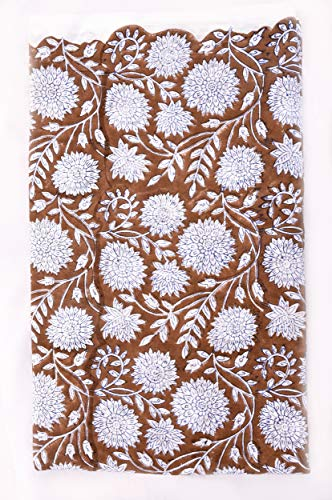 Handicraft-Palace Block Printed Floral Design Handmade Fabric, 100% Cotton Craft Dressmaking Material Supply Fabric (Brown) (10 Yard)