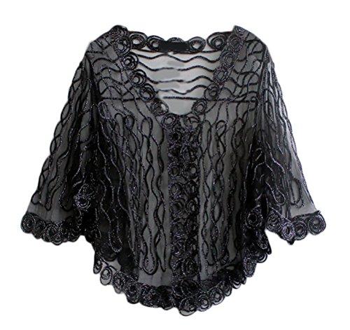 Bolerino Trasparente Giovane Mode Fashion Estive Casual Forti Pipistrello Taglie Donna Abbigliamento Laisla Cardigan Manica Nero Giacca Elegante 6xqzPAP