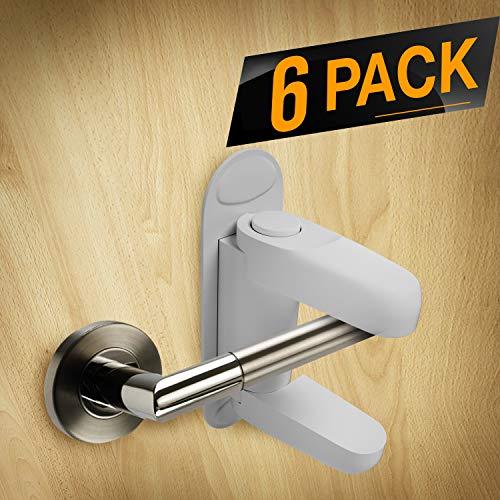 TinyPatrol 6 Pack Baby Safety Protector Door Lock [CHILD PROOF DOORS & HANDLES] Child Door Lock Lever 3M ADHESIVE for Standard Door Lever Handles [UNIVERSAL DESIGN -EASY TO INSTALL]
