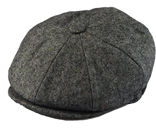Men's Classic 8 Panel Wool Blend Newsboy Snap Brim Collection Hat (X-large, Tweed Grey) (Panel Wool)