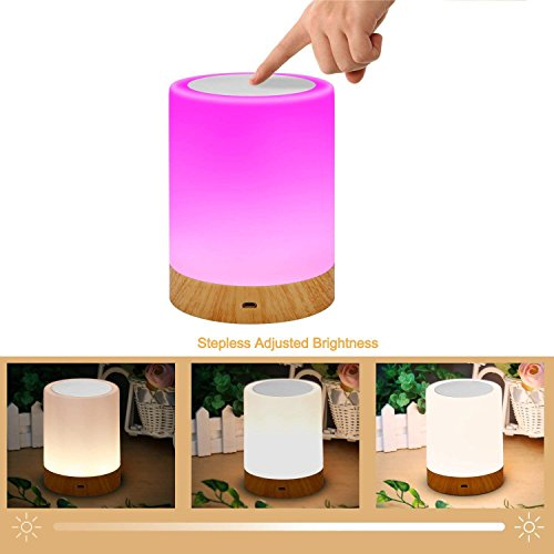 ROYFACC Table Lamp Touch Sensor Lamp Bedside LED Night Light for Kids Bedroom Rechargeable Dimmable Warm White Light + RGB Color Changing by ROYFACC (Image #4)