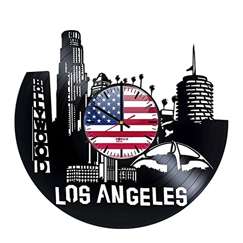 Los Angeles Skyline HANDMADE Vinyl Record Wall Clock - Get unique home room wall decor - Gift ideas for boys and girls, men – City Of USA Unique Modern Art