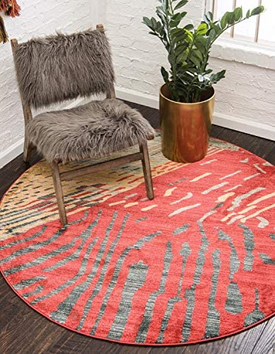 Unique Loom Fars Collection Tribal Modern Casual Red Round Rug 8 0 x 8 0