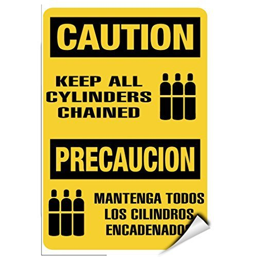 Sign Precaucion - EvelynDavid Caution Keep All Cylinders Chained Precaucion Hazard Sign Label Decal Sticker 12 inches x 18 inches