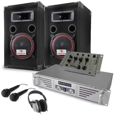 Equipo DJ Starter Amplificador Altavoces Mesa de Mezclas Micros ...