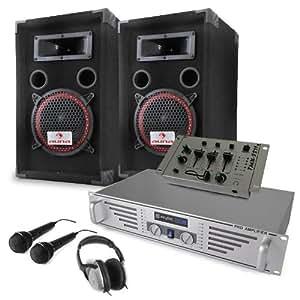 """Equipo DJ """"Starter"""" Amplificador Altavoces Mesa de Mezclas Micros"""