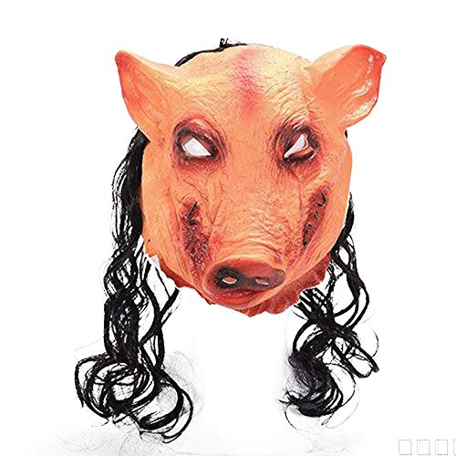 Pig Latex Mask with Hair Full Head Saw-Pig Mask Halloween Costume Prop Party -