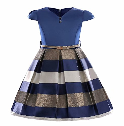 (AYOMIS Litter Big Girl Dress Princess Gowns Party Wedding Dresses(Navy Blue - O)