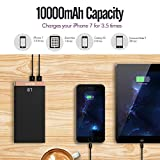 iMuto 10000mAh Portable Charger Power Bank External Battery Charger, Ultra Slim Design with Smart LED Digital Display and 2.4A 2 USB Output Battery Pack for iPhone 7, 7 Plus, 6S,and Nintendo Switch