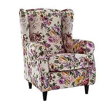 HOGAR TAPIZADO Butaca sillón orejero Nadia tapizado en Tela Estampada Emily 4 100 x 72 x 74
