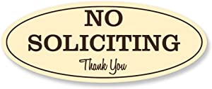 Oval No Soliciting Sign (Ivory) - Medium