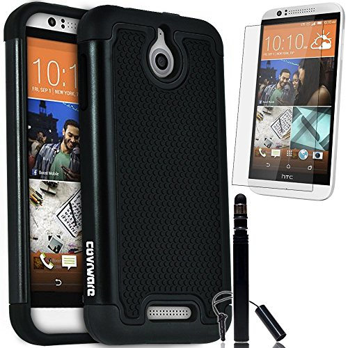 COVRWARE HTC Desire 510 - 3 in 1 Bundle - Armor Defender Series Protective Case [HD Film & Aluminum Stylus Pen] - Black