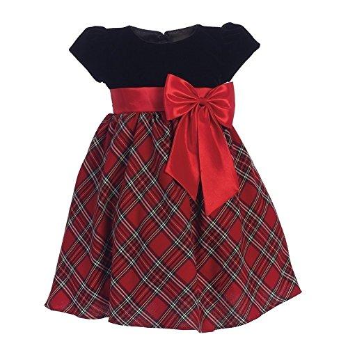 Lito Baby Girls Red Black Velvet Plaid Taffeta Bow Christmas Dress 3-6M