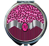 Rikki Knight Letter''M'' Hot Pink Leopard Print Stripes Monogram Design Round Compact Mirror