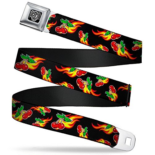 Flaming Cherries - Buckle-Down Seatbelt Belt - Flaming Cherries Scattered Black - 1.5