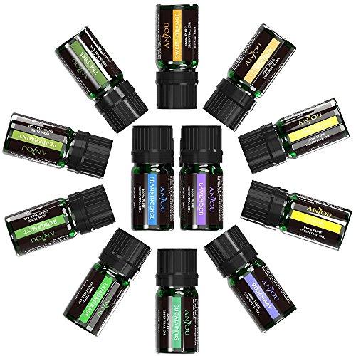 Anjou Aromatherapy Top 12 Essential Oils Set, Include 100 Pure Lavender, Sweet Orange, Tea Tree, Eucalyptus, Lemongrass, Peppermint, Bergamot, Frankincense, Lemon, Rosemary, Cinnamon, and Ylang-Ylang