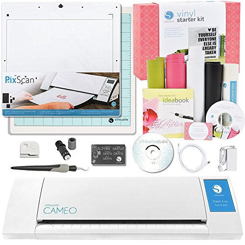 Silhouette CAMEO Vinyl Starter Kit Bundle with PixScan Cutting Mat, White (Vinyl Fonts Lettering)