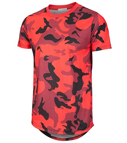 KLIEGOU Mens Hipster Hip Hop Ripped Round Hemline Camouflage T Shirt (05MC) Red XL