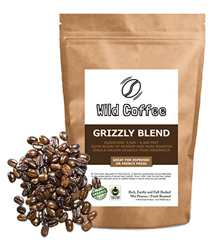 Wild Coffee, Whole Bean Organic Coffee, Fair Trade, Single-Origin, 100% Arabica, Austin Fresh Roasted (Grizzly Blend, 12 ounce) (Cup Oz Each French Press compare prices)