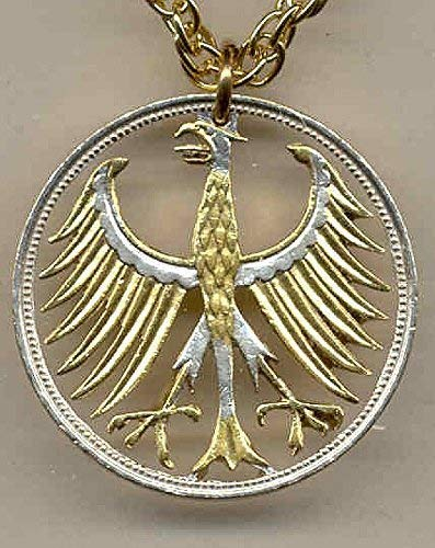 (German Silver 5 Mark Eagle - Beautifully Hand Cut out & 2-toned(Uniquely Hand done) Gold on Silver coin Necklaces for women men girls girlfriend boys teen girls)