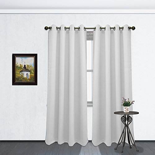 Solid Color Grommet Blackout Room Curtain Panel, Soft Thermal Insulated Room Darkening Window Drape, 54 x 84 Inch, Tessa Single Panel (Cloud White)