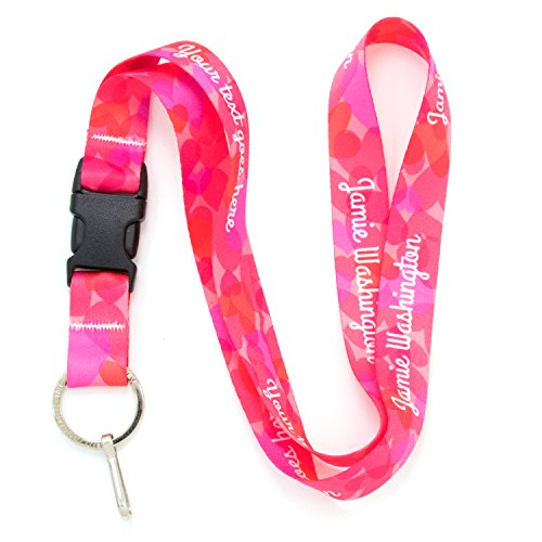 (Buttonsmith Hearts Custom Lanyard - Customize with Your Text - Buckle and Flat Ring - Made in The USA )
