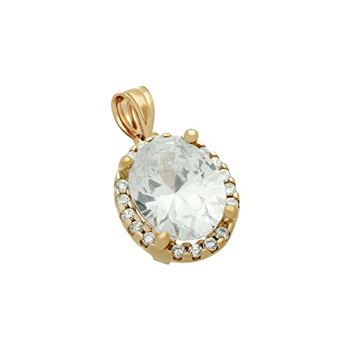 CloseoutWarehouse Oval Cubic Zirconia Pendant Sterling Silver