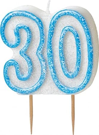 Age 30 Glitter Candle Birthday Party Cake Decoration Blue Amazoncouk Toys Games