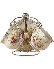 ufengke 4-częściowy zestaw do herbaty z porcelany królewskiej w kolorze kości słoniowej, vintage zestaw do kawy, nadruk czerwono-biała róża, na ślub i do domu