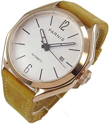 327b8d383 Parnis 43mm White Dial Rose Gold Case Sapphire Crystal Luminous Pointer 21  Jewels Miyota 821A Self