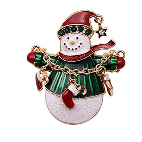 - Cyber Monday GreatFun Christmas Brooches Xmas Pin Snowman Brooch Gold Crystal Brooch Christmas Gift