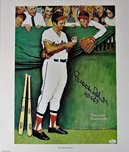 Brooks Robinson Signed Norman Rockwell 17.5 x 21 Print Inscribed HOF 83 JSA Certified Autographed MLB Art