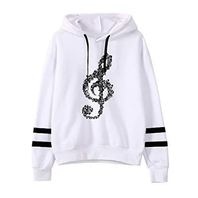 Hemlock Women Musical Notes Hoodies Sweater Coat Teen Girls Hooded Sweatshirt Pullover Jumper Outerwear Coat at Women's Clothing store