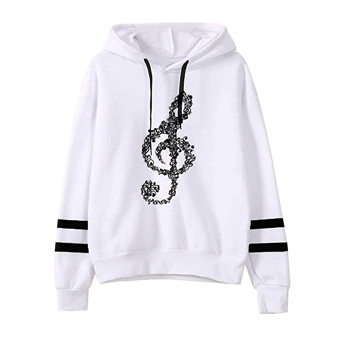Amazon.com: Womens Musical Notes Long Sleeve Hoodie Sweatshirt Pullover Tops Blouse (Size:S, Orange): Office Products