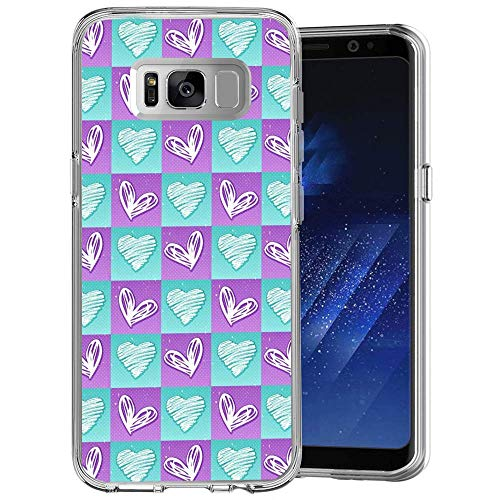 Design Case for Samsung Galaxy S8 Plus,Merciey Clear Crystal Heart-Shaped Grid Personalized Customization Pattern Protective Cover, Samsung Galaxy S8 Plus Case