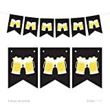 Andaz Press Hanging Pennant Party Banner with String, Beer Mugs Cheers!, 9-Feet, 1-Set, Decor Paper Decorations, Includes String, Retirement, Bachelor's Party, 21st Birthday Decor