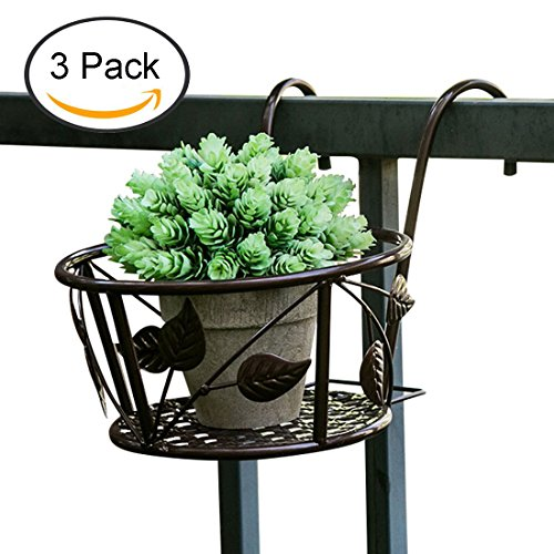Tosnail Iron Art Hanging Baskets Flower Pot Holder - Great for Patio Balcony Porch or Fence - Pack of 3 (Brown)