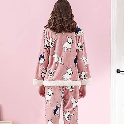 Loungewear Las Cjjc De Larga Damas Animados Hogar Lindo Diario Mujeres Niñas Dibujos Espesar Ideal Caliente Otoño Outwear Impresa Invierno Para Manga Pijamas XI6rvI