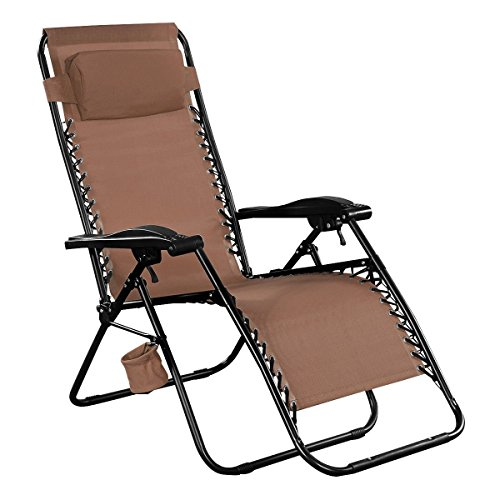 Giantex Folding Lounge Chairs Recliner Zero Gravity Outdoor Beach Patio Garden (Brown) by Giantex