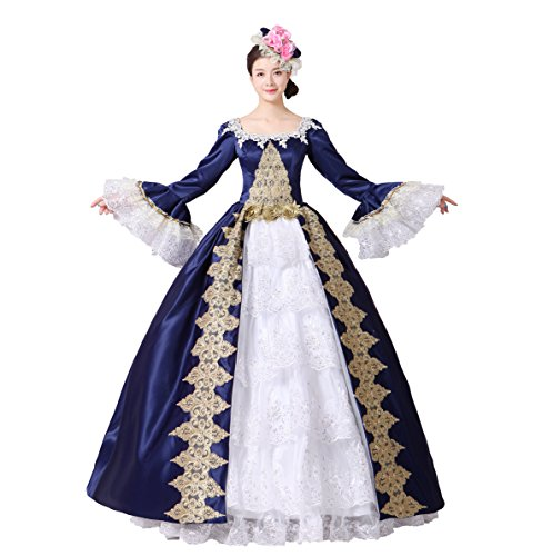 Women Embroidery Lace Marie Antoinette Ball Gowns Civil War Southern Belle Masquerade Dress Reenactment Clothing (S, Dark Blue) (Renaissance Ball Gown)