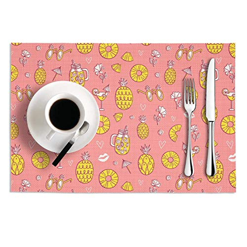 Quinnteens Washable Table Mats Pineapple Vocation Drink Beach Pink Background Non-Slip Insulation Placemat (2pcs placemats,12x18 inch)