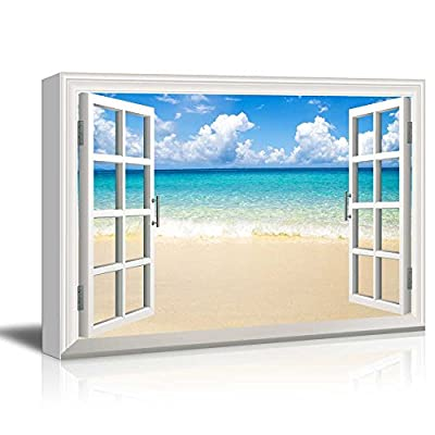 Creative Window View Beach and Tropical Sea - Canvas Art