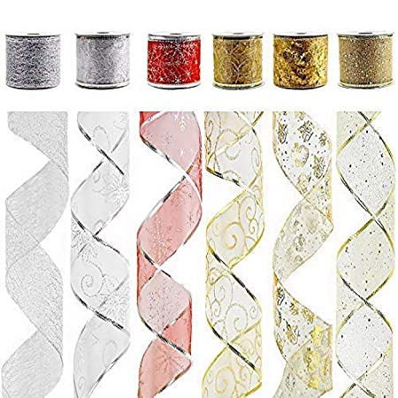 VATIN Wired Christmas Ribbon, Assorted Swirl Sheer Organza Glitter Crafts Gift Wrapping Festive Ribbons Christmas Design Decorations, 30 Yards (6 Roll x 5 yd) by 2-1/2', Set #2 30 Yards (6 Roll x 5 yd) by 2-1/2 VATIN Official