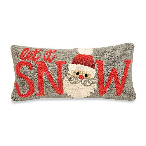 Mud Pie Christmas Let It Snow Hooked Wool Pillow (Mud Christmas Pillows Pie)