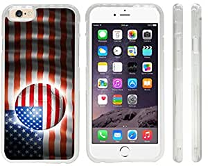 Rikki KnightTM Brazil World Cup 2014 USA Team Football Soccer Flag Design iPhone 6 Case Cover (Clear Rubber with front bumper protection) for Apple iPhone 6