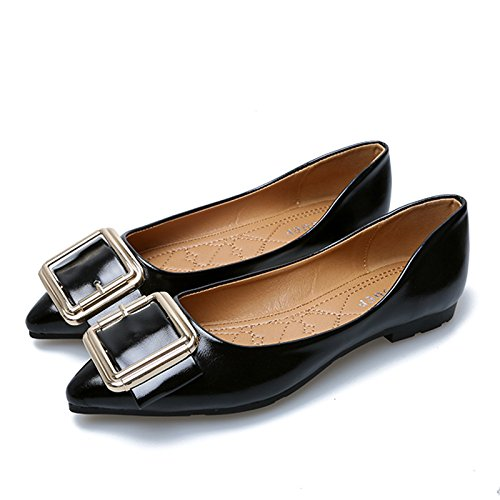 flat shoes Black Square thin shoes Women's buckle non shallow bottom soft slip Eq15w