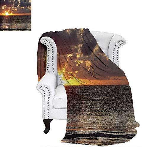 Cancun Light - Digital Printing Blanket Dramatic Sunrise in Cancun Cloudscape Skyline Calm Ocean Coastal Picture Lightweight Blanket 60