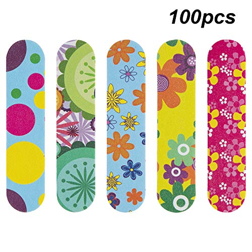 Waloden 100PCS Mini Nail Files Double Sided Beauty Care Nail Buffering Files Professional Nail File Manicure Tools 5 colors