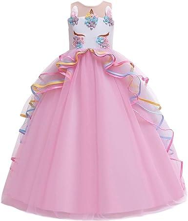 MYRISAM Princesa Vestido de Unicornio para Niñas Chicas Disfraz de ...